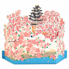 Cherry Blossom with White Castle Pop Up Greeting Card