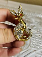 VTG Crystal Rhinestone Cat Brooch Pin Gold Rare Figural 1950s