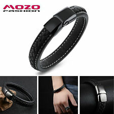 Bracelet Pour Hommes En Cuir Noir Magnétique Clips Stainless Steel Mode Sport