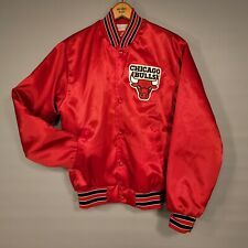 Vintage Red Satin Patched Chicago Bulls Swingster NBA Basketball Snap Jacket Sm