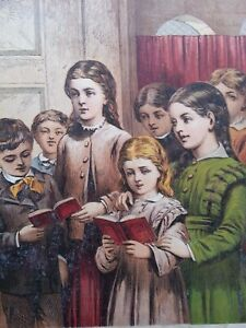 ANTIQUE PRINT DATED 1872 YOUNG VICTORIAN CHILDREN SINGING PORTRAIT ENGRAVING