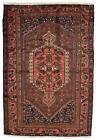 Vintage Tribal Oriental Hamadan Rug, 5'x7', Burgundy, Hand-Knotted Wool Pile