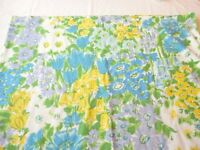 Flat Sheet Vintage 1970's Mohawk Twin Size Muslin Bright Floral Print