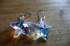 SIMULATED MERCURY MYSTIC TOPAZ 925 SILVER DROP DANGLE HOOK STAR EARRINGS