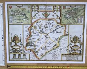 """Old Antique Tudor map of Rutland, Stamford England Speed 1600's 15"""" x 11 Reprint"""