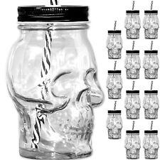 12 x Große Totenkopf Trinkgläser mit Deckel + Strohhalm Totenschädel Glas Becher