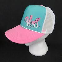 Vans Off The Wall Pink Aqua Mesh Trucker Snapback Hat Skate Surf Airbrush Look