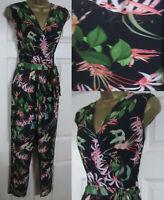 NEW Wallis Ladies Tropical Print Wrap Jumpsuit Playsuit Summer Black Green 8-20