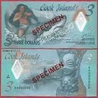 COOK ISLANDS 3 DOLLARS 2021 PNEW POLYMER SPECIMEN BANKNOTE UNC