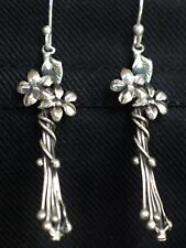 Mexican  0.925 Sterling Silver Earrings Flowers  Frida Kahlo Style Vintage