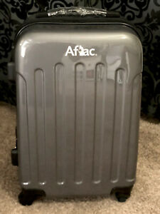 """Brookstone Aflac Graphite Gray 22"""" Hard Carry On Spinner Luggage Suitcase New"""