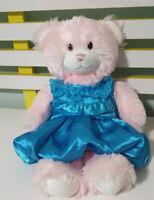 LIGHT PINK FLUFFY BUILD A BEAR PINK EYES 40CM BLUE DRESS BAB