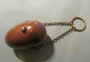 RARE EARLY VICTORIAN LADIES COPPER EGG SHAPE 1/2 SOVEREIGN HOLDER