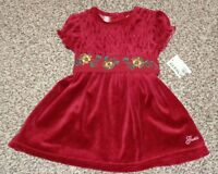 Guess Toddler Girls Red Velvet Smocked Dress Floral Band 18 Months NEW