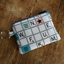 Handmade Earphone Case Tiny Coin Purse Key ring Scrabble Fabric