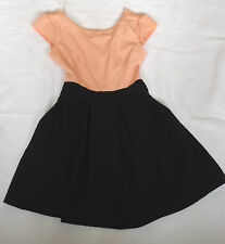 "BNWT S WAL G PEACH & BLACK CROSS BACK SKATER DRESS PLEATED SKIRT CHEST 32"" 81cm"