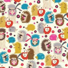 By 1/2 Yard ~ Hedgehog Meadow in Cream ~ Fox Woods Michael Miller Fabric animals