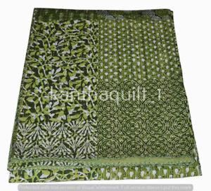 Indian Handmade Patchwork Kantha Quilt Reversible Bedspread Queen Cotton