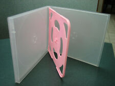 100 NEW SLIM QUAD(4) CD/DVD POLY CASES CLEAR/PINK PSC76CLEAR/PINK TRAY