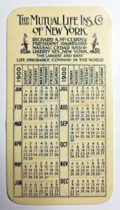 1900 THE MUTUAL LIFE INS. CO. OF NEW YORK POCKET CALENDAR-S.L. PORTER BANGOR, ME