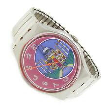 Swatch Swiss Damen Herren Armband Uhr DEHLI GX125 1992 Batterie neu stretch s013