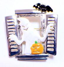 Halloween Ghost in a Haunted Window Pin Brooch