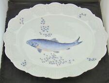 A. GIRAUD Limoges France Platte Oval Fischdekor und Muschelrelief Porzellan