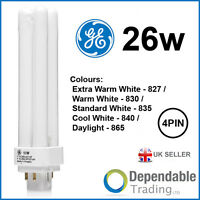 GE BIAX D/E 4 PIN CFL Energy Saving Double Turn Lamp 10w 13w 18w 26w PLC PL-C DE