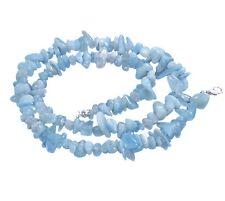 Aquamarine Blue Splitter Chain with Carabiner Clasp Gemstone Healing Stone 45 Cm