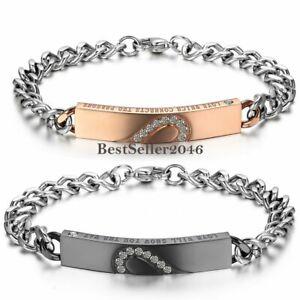 His & Hers Matching Heart  Love Stainless Steel CZ Chain Men Women Bracelet Gift