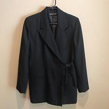 Arthur Chapnik Womens Blazer Jacket Shoulder Pads. Tie Front Size  4Black