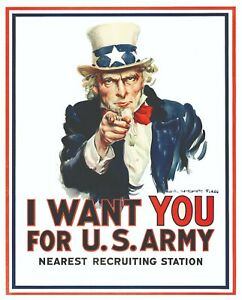 """Military Poster I Want You, 8x10"""" US Army Recruiting Poster in Red, White, Blue"""