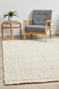 ALISON JUTE RUG WHITE Natural Braided Large 5 SIZES Floor mat Carpet FREE POST