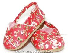 Hot Pink Flower Canvas Slip On Shoes 18 in Doll Clothes Fits American Girl