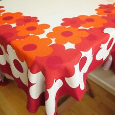 Vintage TABLECLOTH with RED & ORANGE FLOWERS | 177 x 135 cm | Retro 1960s 1970s