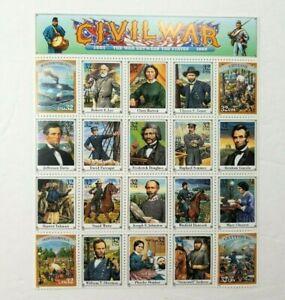 1995 Civil War USPS Sheet 32 cent 20 Stamp Sheet Unhinged Historical People