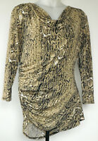 Vince Camuto Tan Snakeskin Drape Neck Ruched Side 3/4 Sleeve Knit Top Skirt M