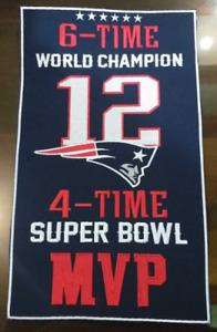 "New England Patriots Tom Brady 6x Super Bowl World Champions 14"" x 8.5"" Banner"