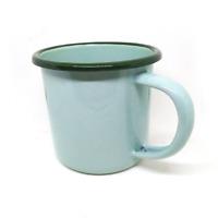 330 ml green enamel mug camping enamelware coffee cup tea vintage beer glass