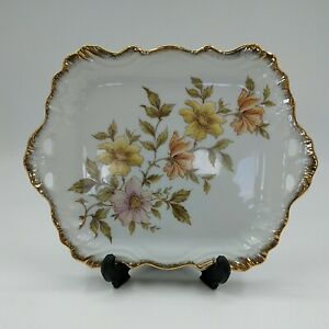 Westminster Annabelle Square Plate Fine China Floral Pattern - Gilt Decoration