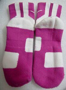 NIKE ELITE basketball Socks M-6/8 W-6/10 Pink/White KAY YOW Breast Cancer