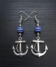 Silver Tone Anchor Dangle Earrings, Nautical, Sailor, Yacht, Stripe Bead, Gift