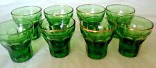 Set of 8 Vintage Cordial Liqueur Glasses Beautiful Moss Green Color Gold Rimmed