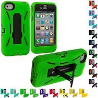 Color Hybrid Heavy Duty Hard/Soft Skin Case Cover with Stand for iPhone 4 4S 4G