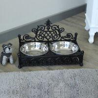 pet dog dish bowl feeding vintage gift black metal shabby ornate