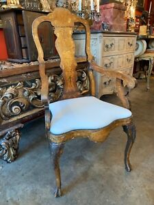 19th Century Dutch Marquetry Accent Chair With White Linen Cushion