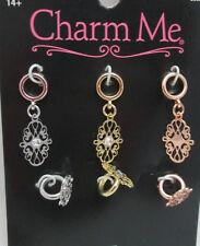 Charm Me 6 Piece Metal Fashion Charm Set - Filagree 3 Oval & 3 Mini Rings