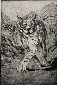 SIGNED 1999 TIGER FIGURE PORTRAIT STUDY  ETCHING TIGER #10/18
