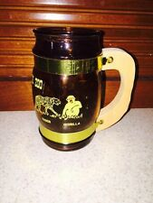 Philadelphia Zoo Amber Glass Mug with wood handle VINTAGE ANIMALS PA ZOO 1970s