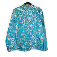 Chico's Silk Blend Floral Blue Jacket Button Down Cruise Tropical Womens 1